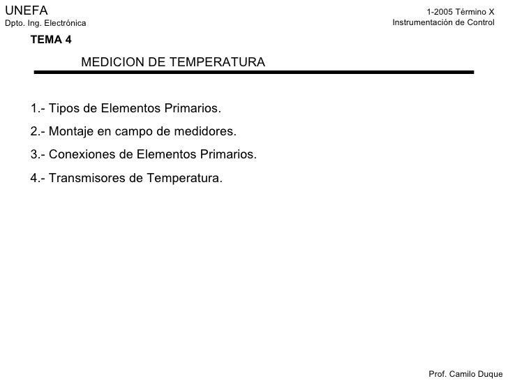 Instrumentación De Control   Clase 6 Temperatura