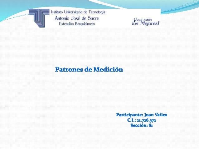 Patrón de medición Un patrón de medidas es el hecho aislado y conocido que sirve como fundamento para crear una unidad de ...