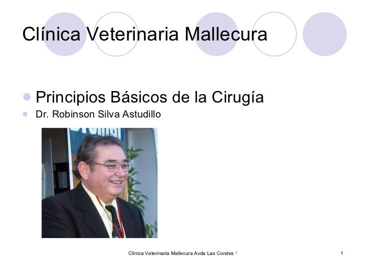 Clínica Veterinaria Mallecura <ul><li>Principios Básicos de la Cirugía </li></ul><ul><li>Dr. Robinson Silva Astudillo </li...