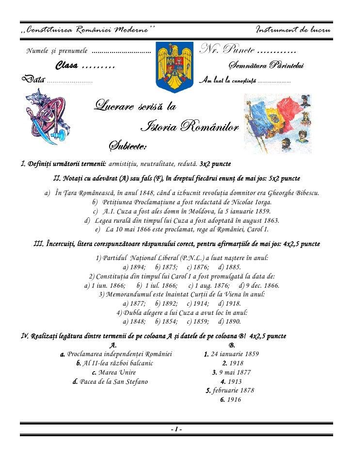 ,,Constituirea României Moderne''                                                   Instrument de lucru             ………………...