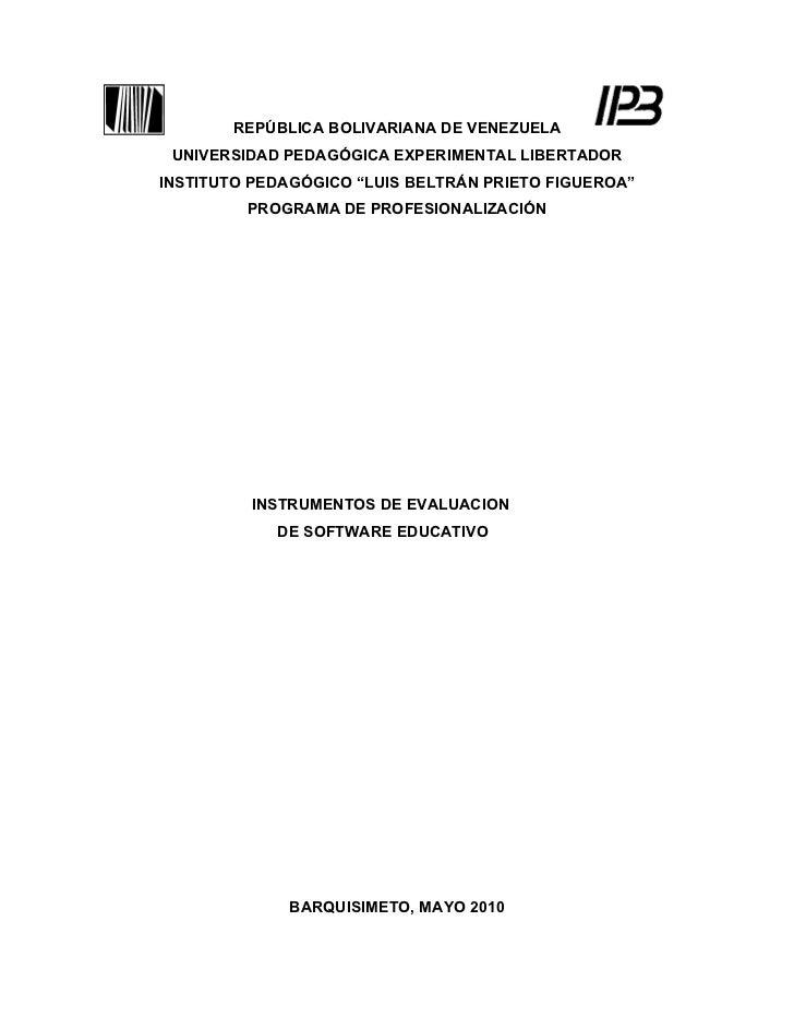 "REPÚBLICA BOLIVARIANA DE VENEZUELA UNIVERSIDAD PEDAGÓGICA EXPERIMENTAL LIBERTADORINSTITUTO PEDAGÓGICO ""LUIS BELTRÁN PRIETO..."