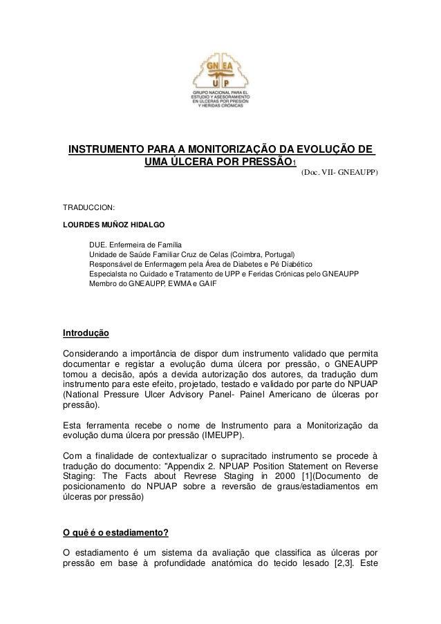 INSTRUMENTO PARA A MONITORIZAÇÃO DA EVOLUÇÃO DE UMA ÚLCERA POR PRESSÃO1  (Doc. VII- GNEAUPP)  TRADUCCION:  LOURDES MUÑOZ H...
