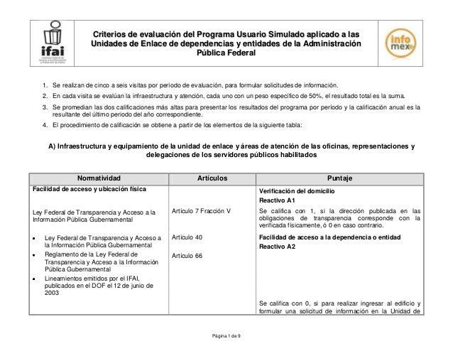 Criterios de evaluación del Programa Usuario Simulado aplicado a las                    Unidades de Enlace de dependencias...