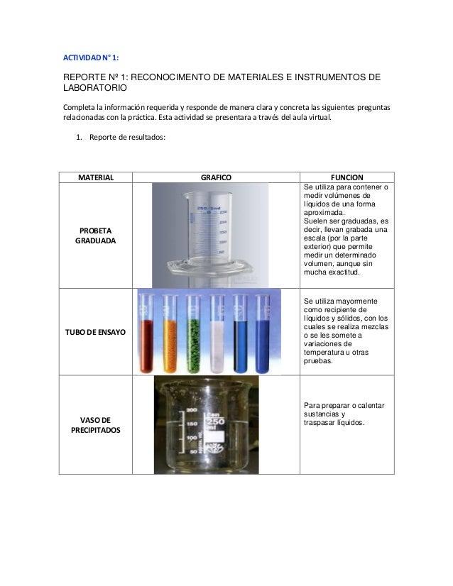 ACTIVIDAD N° 1: REPORTE Nº 1: RECONOCIMENTO DE MATERIALES E INSTRUMENTOS DE LABORATORIO Completa la información requerida ...