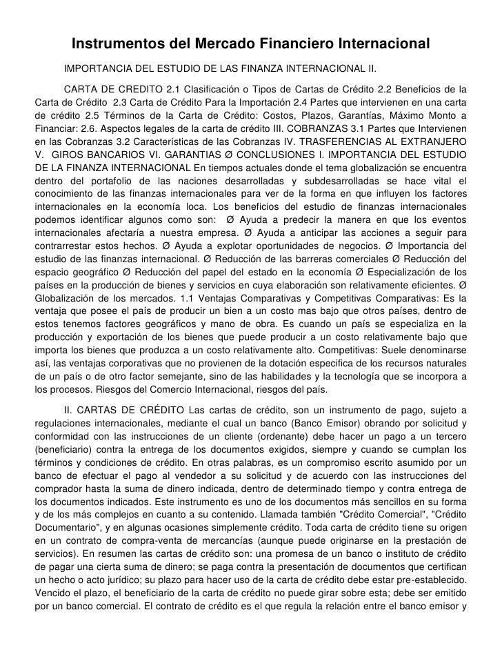 Instrumentos del Mercado Financiero Internacional      IMPORTANCIA DEL ESTUDIO DE LAS FINANZA INTERNACIONAL II.        CAR...