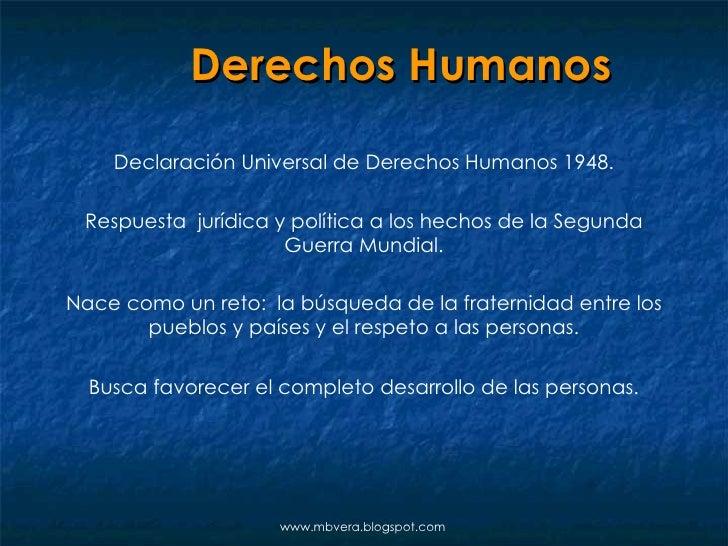 Derechos Humanos Declaración Universal de Derechos Humanos 1948. Respuesta  jurídica y política a los hechos de la Segunda...