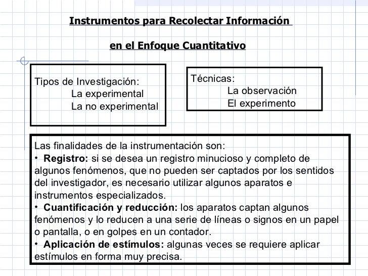 Instrumentos para Recolectar Información  en el Enfoque Cuantitativo   <ul><li>Tipos de Investigación:  </li></ul><ul><ul>...