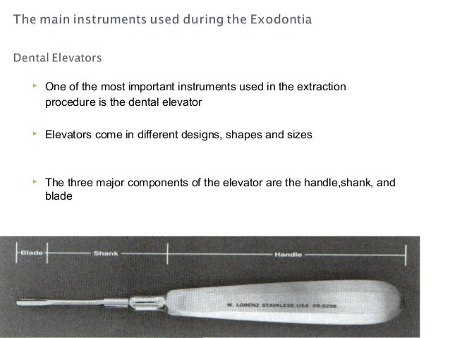   One of the most important instruments used in the extraction procedure is the dental elevator    Elevators come in dif...