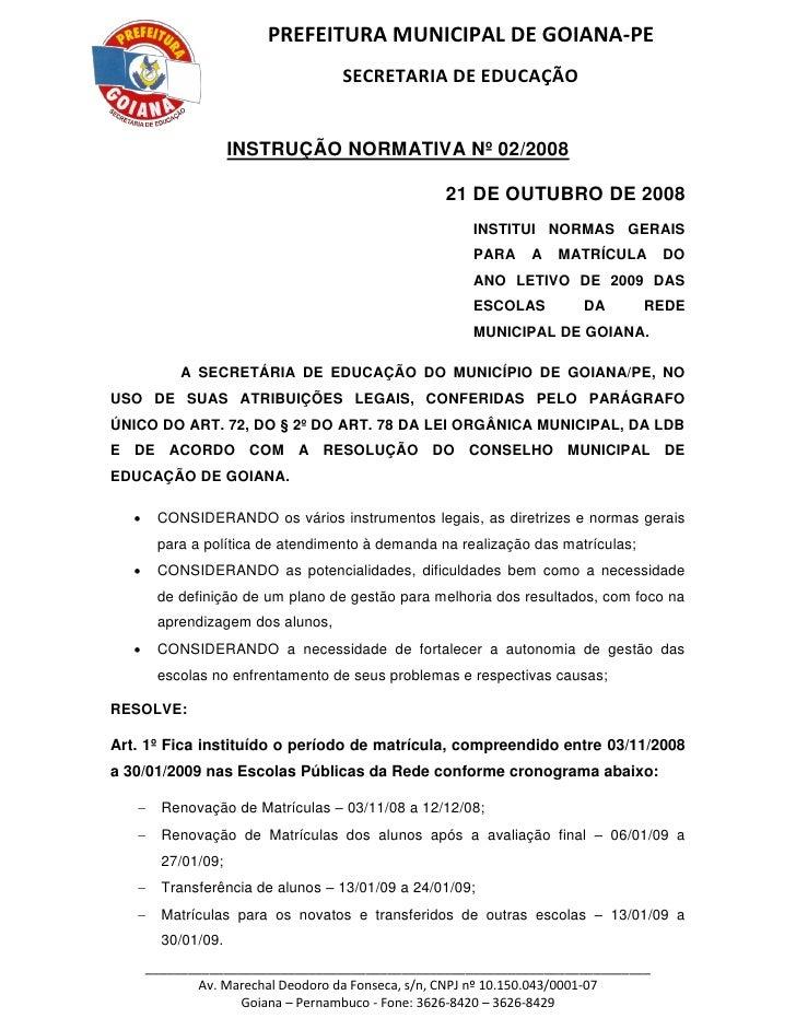PREFEITURA MUNICIPAL DE GOIANA-PE                                    SECRETARIA DE EDUCAÇÃO                        INSTRUÇ...