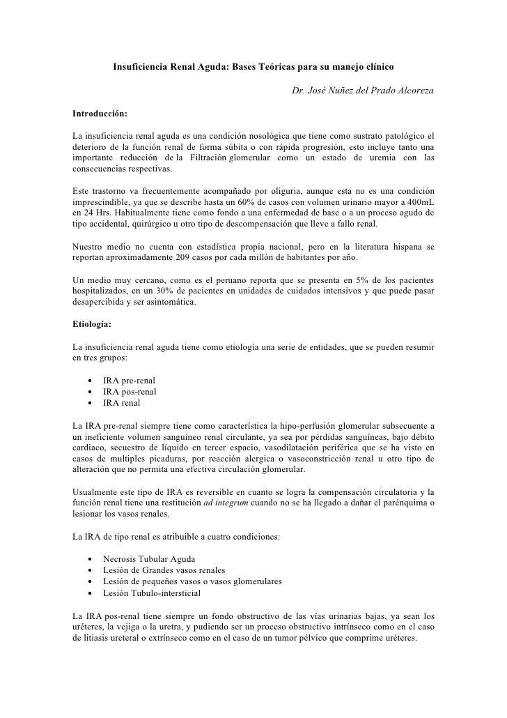 Insuficiencia Renal Aguda: Bases Teóricas para su manejo clínico                                                          ...