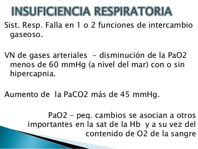 Sist. Resp. Falla en 1 o 2 funciones de intercambio  gaseoso.VN de gases arteriales - disminución de la PaO2 menos de 60 m...