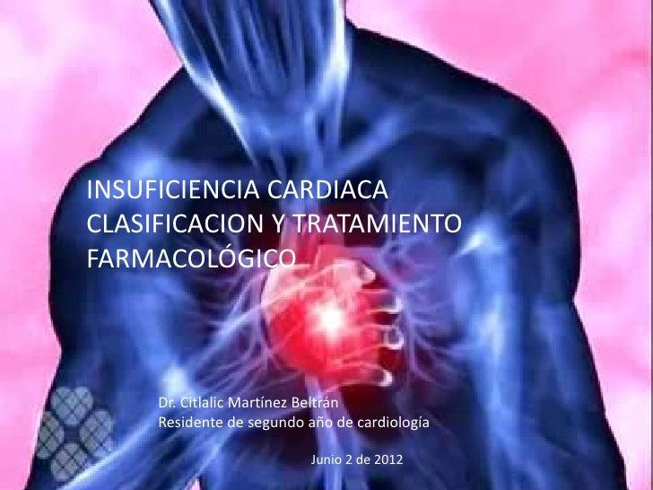 INSUFICIENCIA CARDIACACLASIFICACION Y TRATAMIENTOFARMACOLÓGICO     Dr. Citlalic Martínez Beltrán     Residente de segundo ...