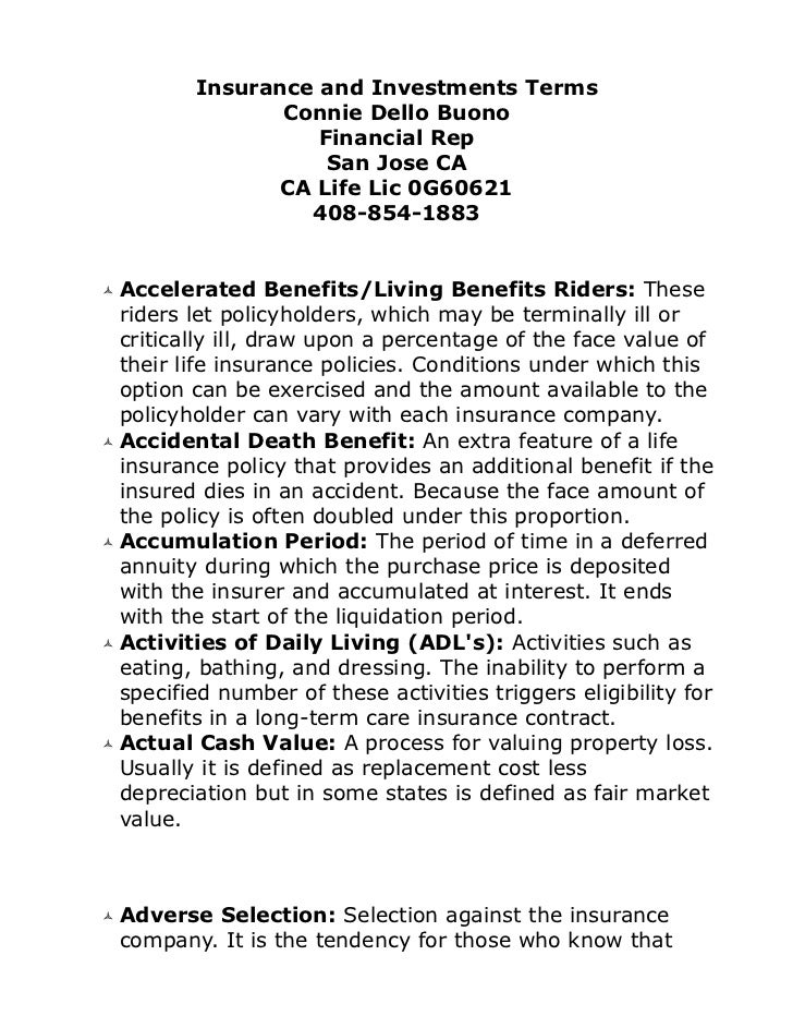 Insurance and investments terms connie dello buono 4088541883 motherhealth at gmail san jose california