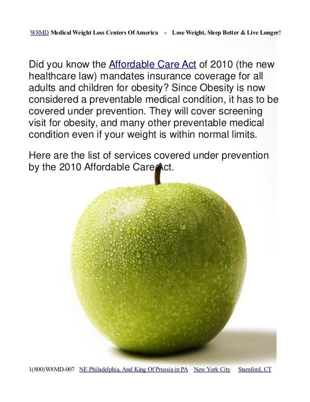 Insurance coverage for obesity, weight loss and other preventable services and affordable care act of 2010