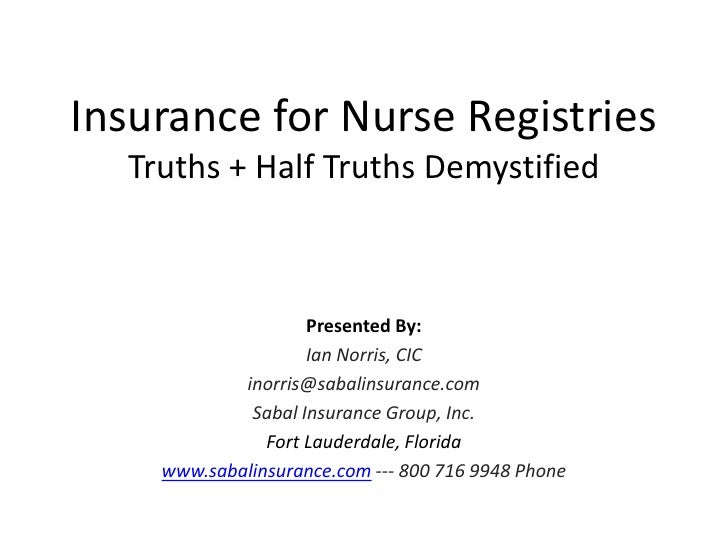 Insurance for nurse registries