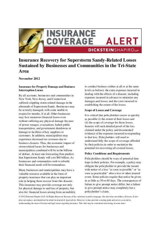 Insurance Recovery for Superstorm Sandy-Related LossesSustained by Businesses and Communities in the Tri-StateAreaNovember...