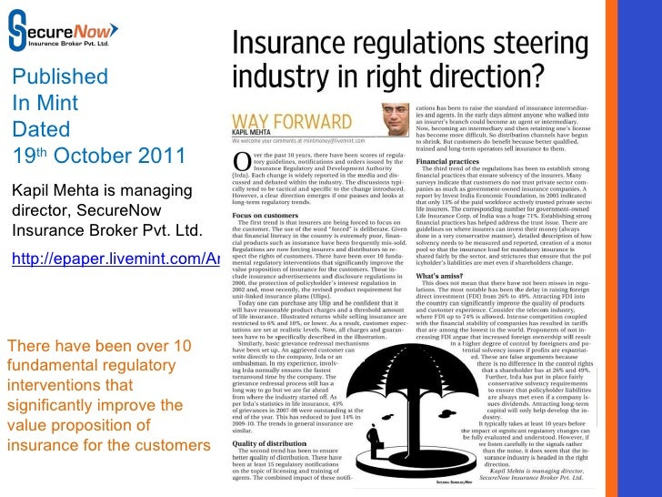 Insurance regulations steering industry in right direction