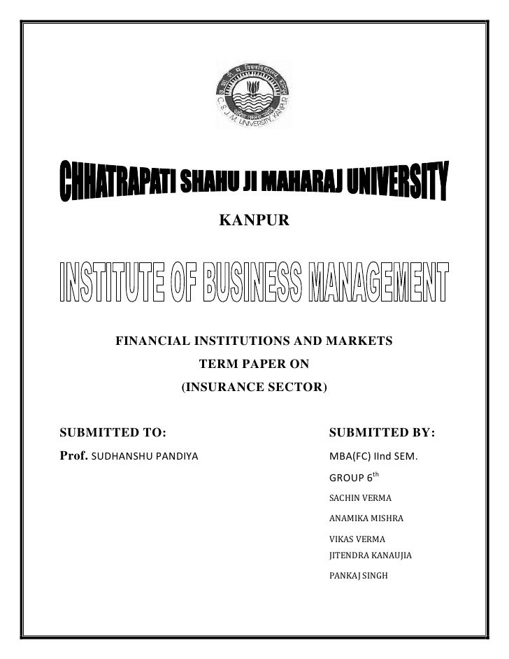 Insurance sector term paper