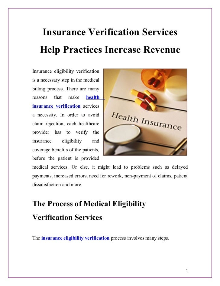 Insurance Verification Services   Help Practices Increase RevenueInsurance eligibility verificationis a necessary step in ...