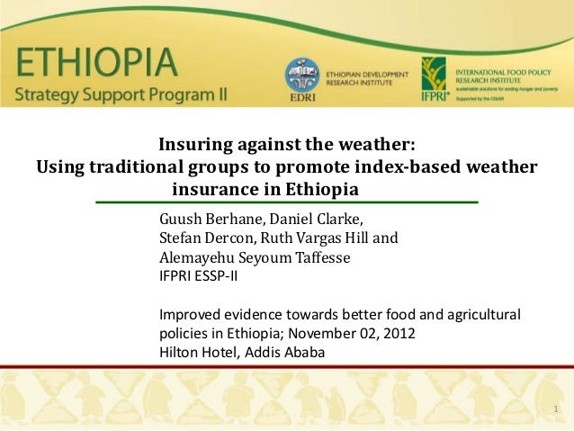 Insuring against the weather:Using traditional groups to promote index-based weather                insurance in Ethiopia ...