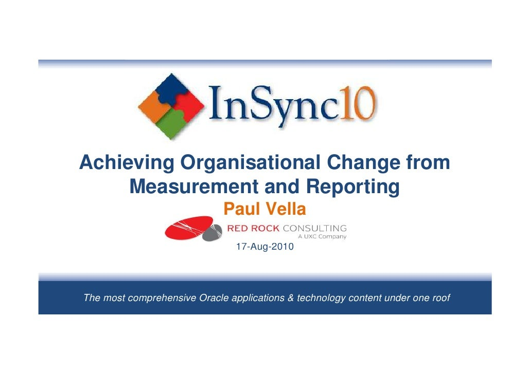 Achieving Organisational Change from      Measurement and Reporting                              Paul Vella               ...