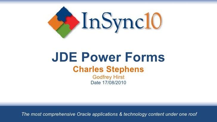 Insync10 - JDE Power Forms - Godfrey Hirst