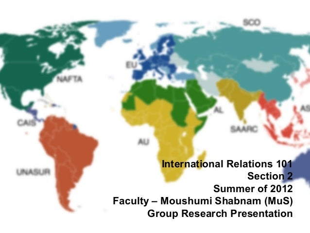 International Relations 101 Section 2 Summer of 2012 Faculty – Moushumi Shabnam (MuS) Group Research Presentation