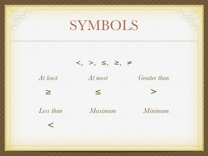 symbols at least at most greater than less than maximum