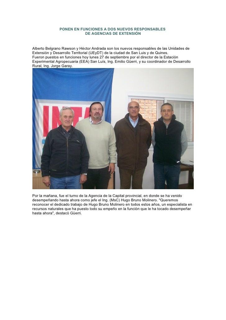 PONEN EN FUNCIONES A DOS NUEVOS RESPONSABLES                           DE AGENCIAS DE EXTENSIÓN   Alberto Belgrano Rawson ...