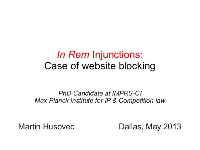 In Rem Injunctions: Case of Website Blocking