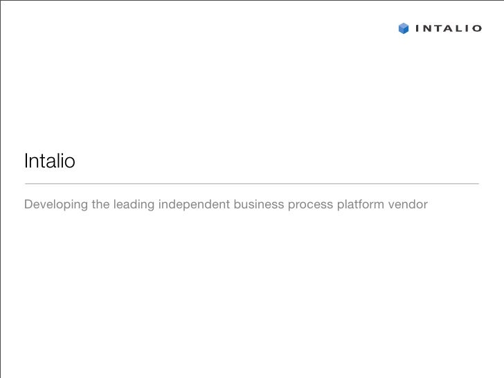 Intalio Corporate Presentation (BPMS)