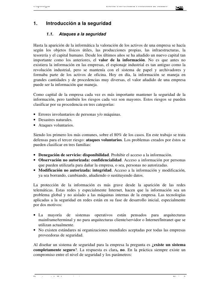 Criptología                               Escola Universitària Politècnica de Mataró     1.      Introducción a la segurid...