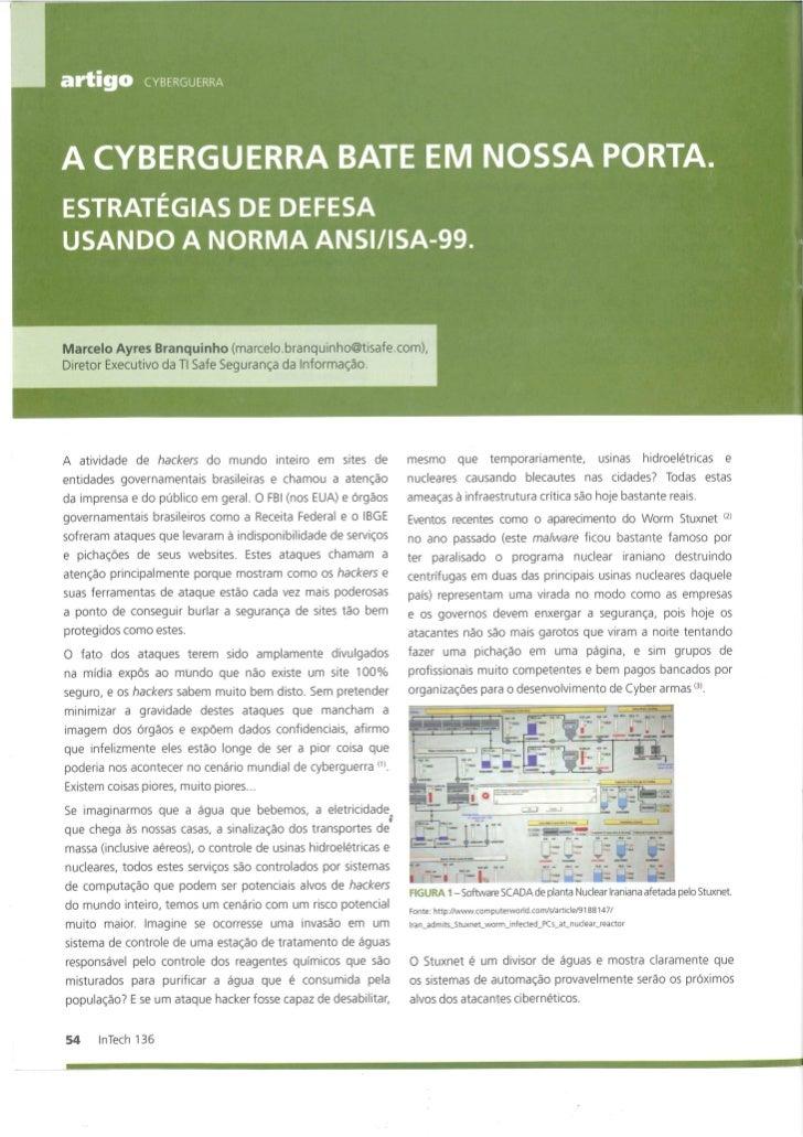 Artigo publicado na Revista Intech Brasil 136 - A Ciberguerra bate em nossa porta