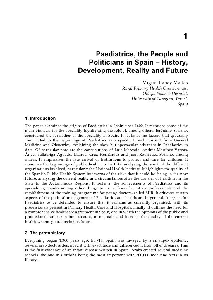 1                                    Paediatrics, the People and                                  Politicians in Spain – H...