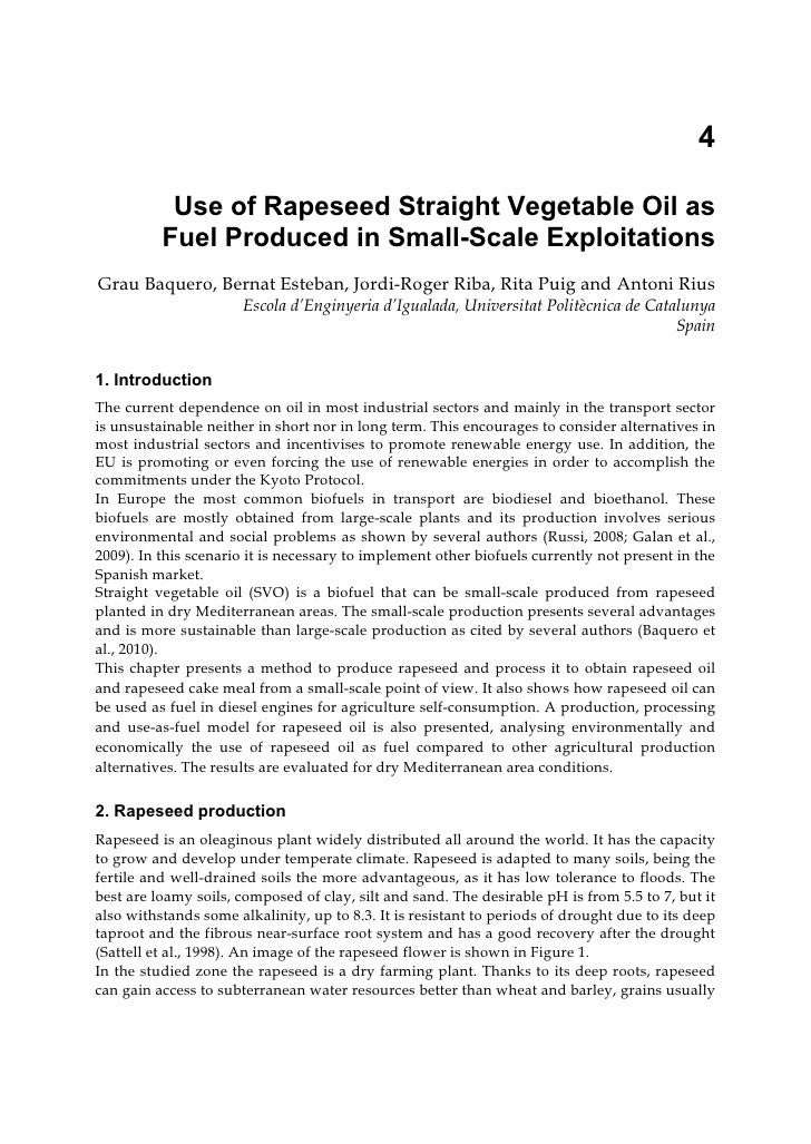 4           Use of Rapeseed Straight Vegetable Oil as          Fuel Produced in Small-Scale ExploitationsGrau Baquero, Ber...