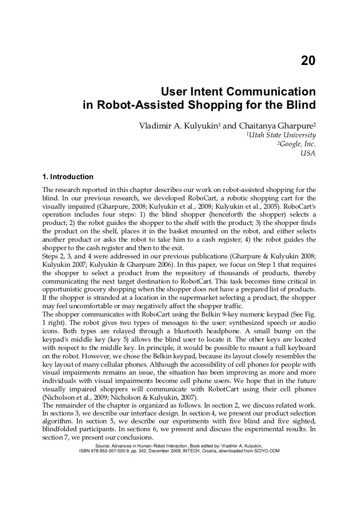 User Intent Communication in Robot-Assisted Shopping for the Blind