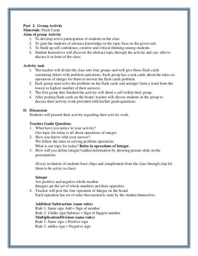 information technology specialist resume lesson plans integer lesson plan