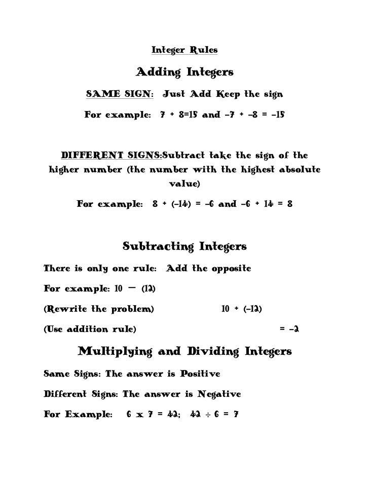 Worksheets Adding Integers Rules adding and subtracting integers rules song negative math worksheet the gallery for gt and