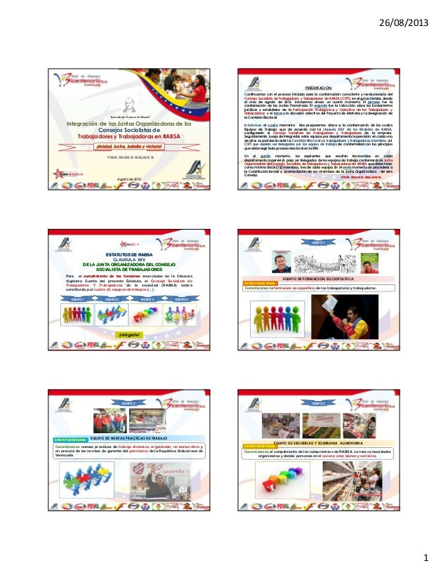 """26/08/2013 1 Integración de las Juntas Organizadoras de los Consejos Socialistas de Trabajadores y Trabajadoras en RABSA """"..."""