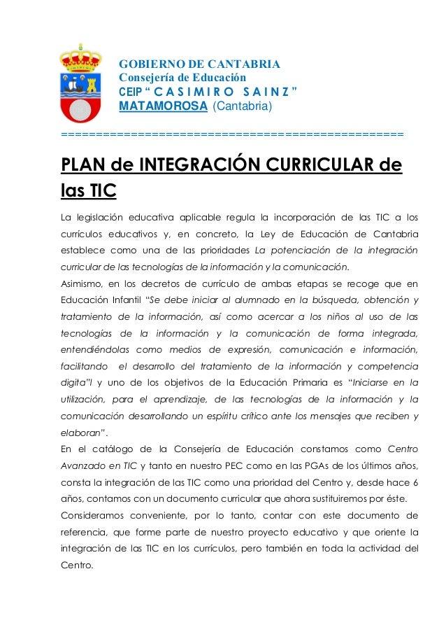 """GOBIERNO DE CANTABRIA Consejería de Educación CEIP """" C A S I M I R O S A I N Z """" MATAMOROSA (Cantabria) ==================..."""