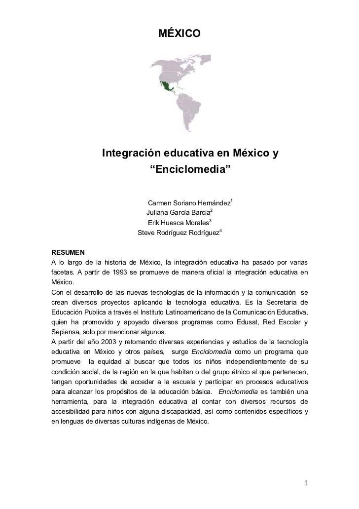 """MÉXICO                 Integración educativa en México y                          """"Enciclomedia""""                          ..."""