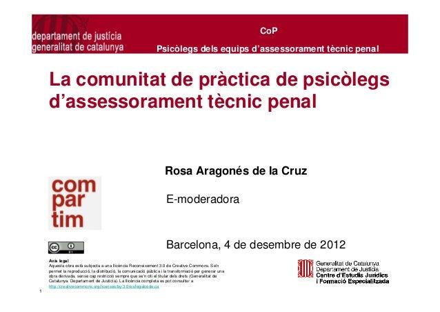 CoP                                                              Psicòlegs dels equips d'assessorament tècnic penal    La ...