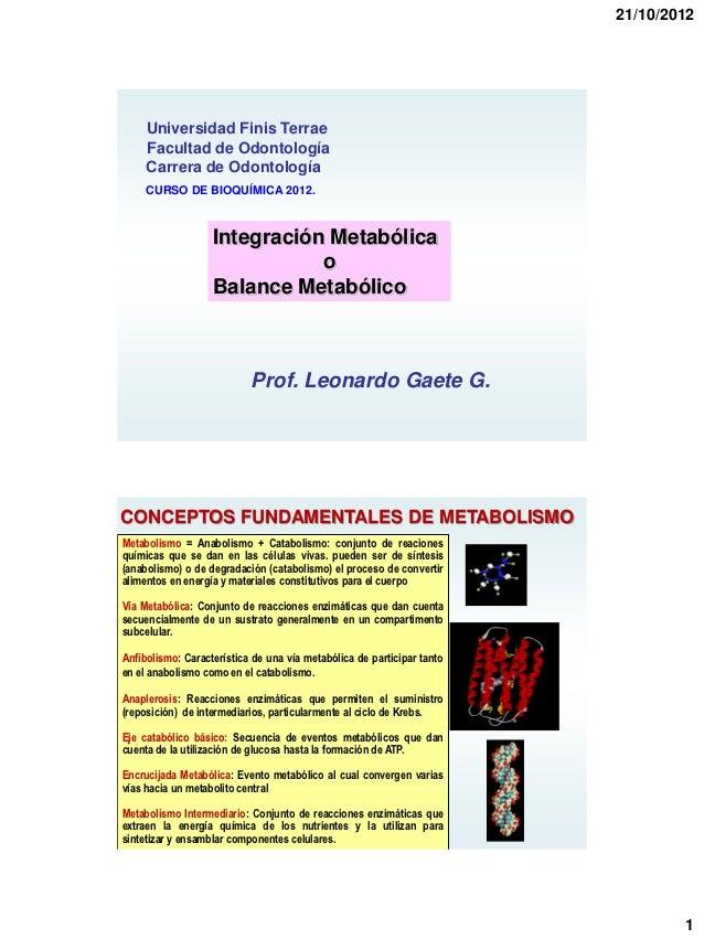 21/10/2012     Universidad Finis Terrae     Facultad de Odontología     Carrera de Odontología     CURSO DE BIOQUÍMICA 201...