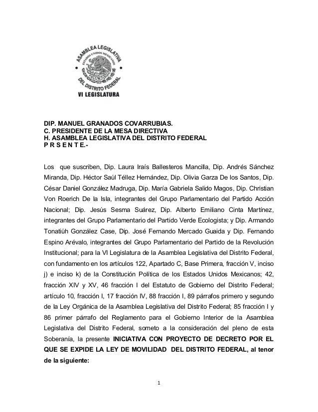 Iniciativa con proyecto de decreto que expide la ley de movilidad del Distrito Federal