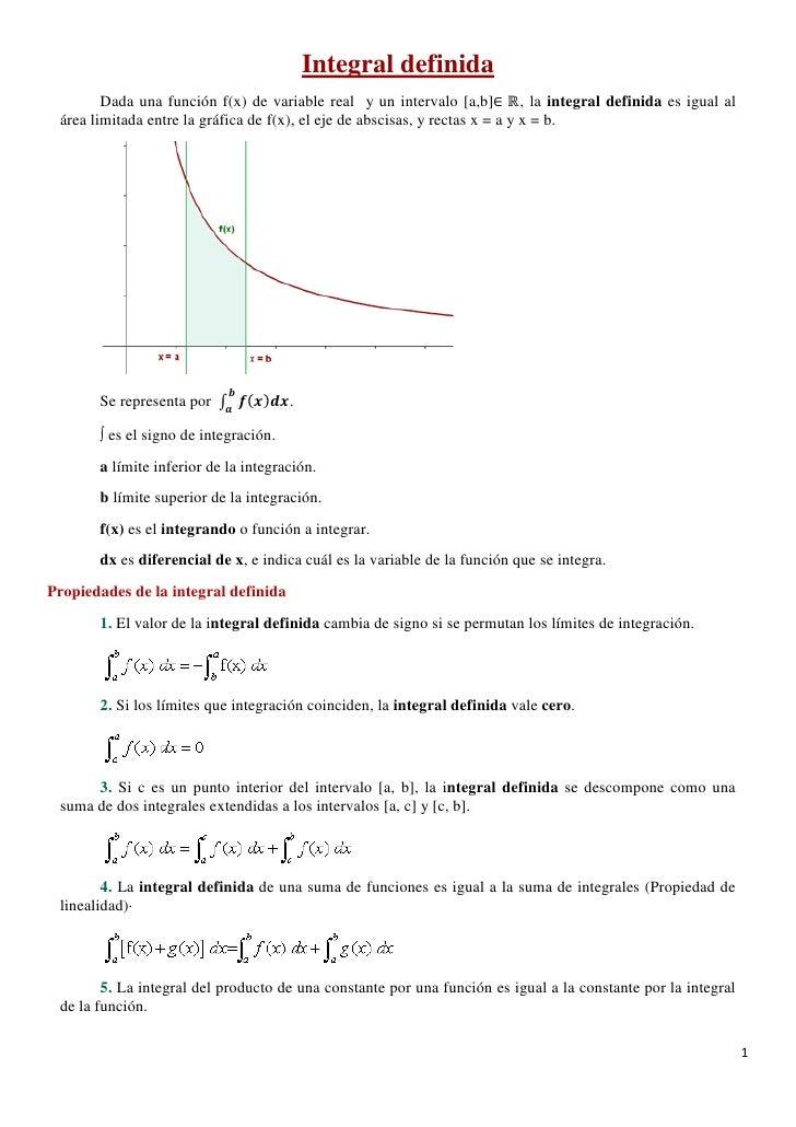 Integral definida        Dada una función f(x) de variable real y un intervalo [a,b]∈ ℝ, la integral definida es igual al ...