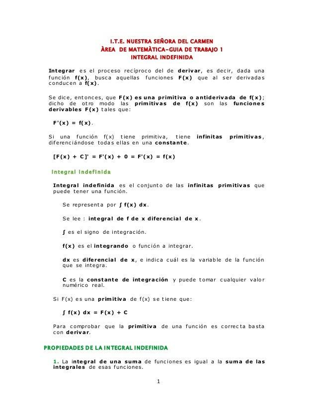 I .T.E. NUESTRA SEÑORA DEL CARMEN  ÀREA DE MATEMÀTICA-GUIA DE TRABAJO 1  INTEGRAL INDEFINIDA  Integrar es el proc eso rec ...