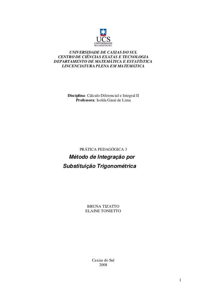 Integral Substituicao Trigonometrica
