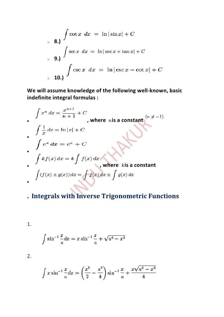 integration of inverse trigonometric functions pdf