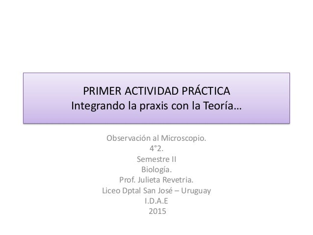 PRIMER ACTIVIDAD PRÁCTICA Integrando la praxis con la Teoría… Observación al Microscopio. 4°2. Semestre II Biología. Prof....