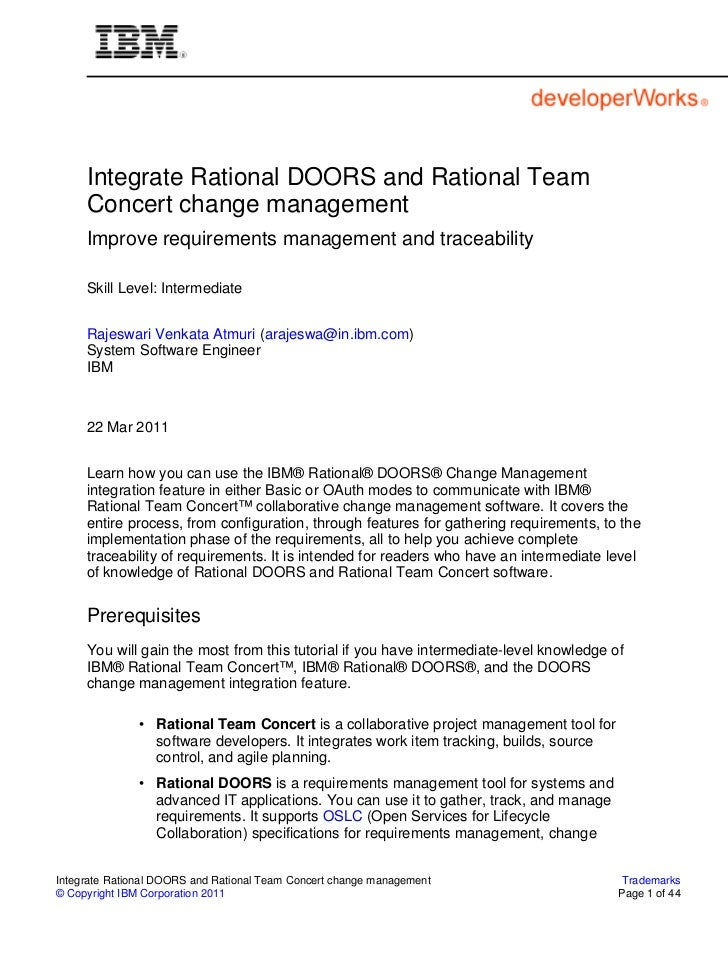Integrate Rational DOORS and Rational Team     Concert change management     Improve requirements management and traceabil...
